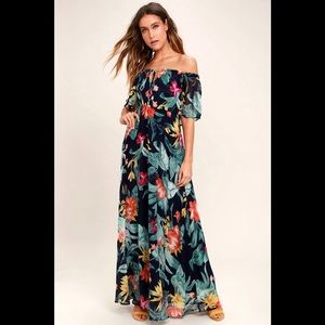 Lulu's Navy Printed Off the Shoulder Maxi Dress